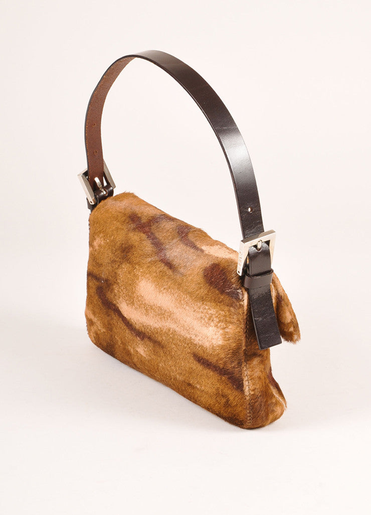 Fendi Brown Leather and Fur Baguette Bag Sideview