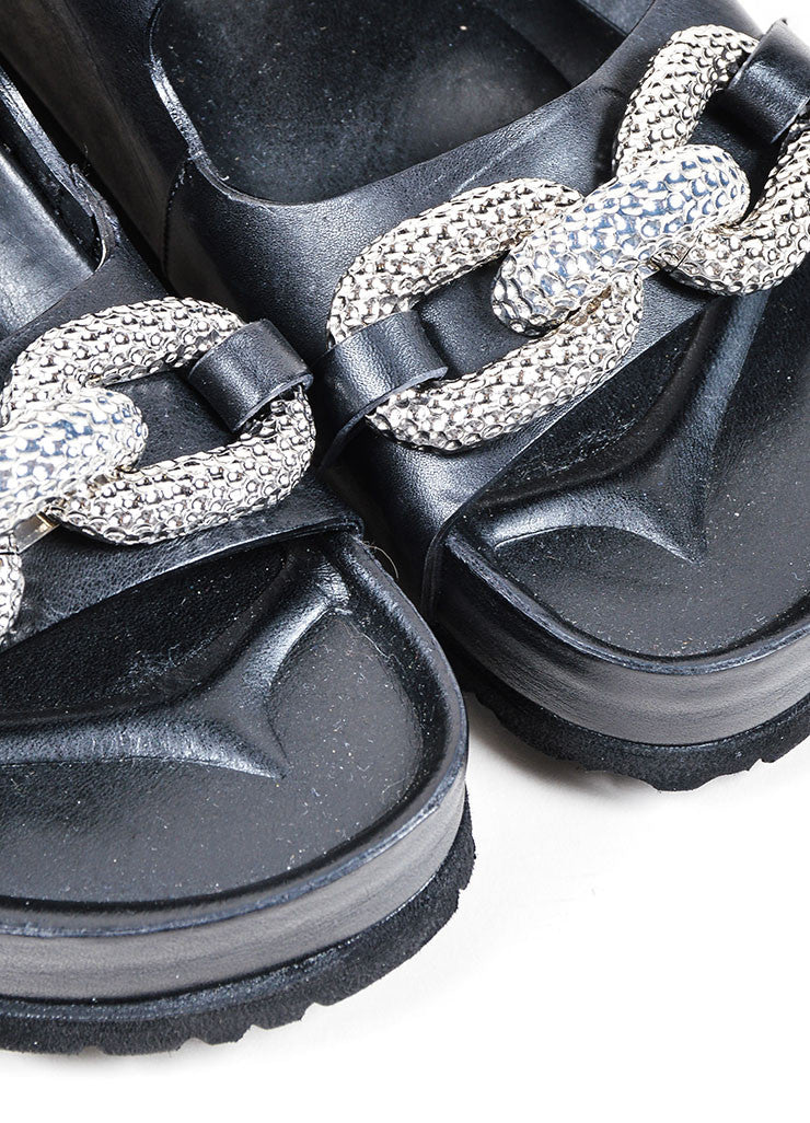 Giambattista Valli Black and Silver Toned Leather Pave Chain Sandals Detail