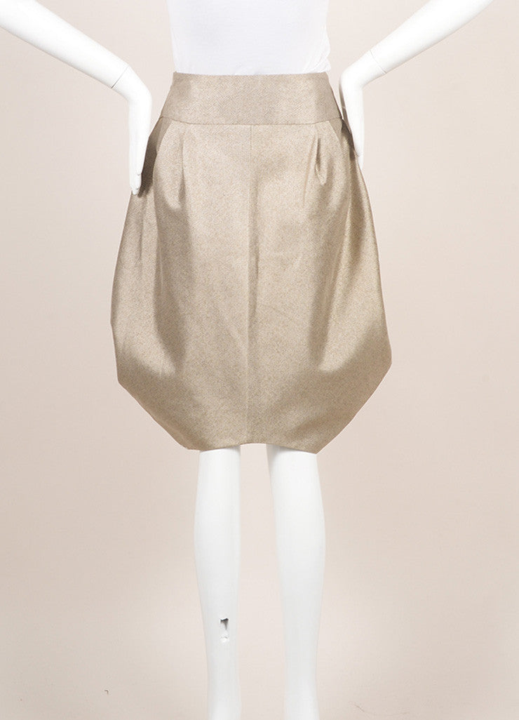 Giorgio Armani Gray Beige Metallic Structured Voluminous Pleated Skirt Backview