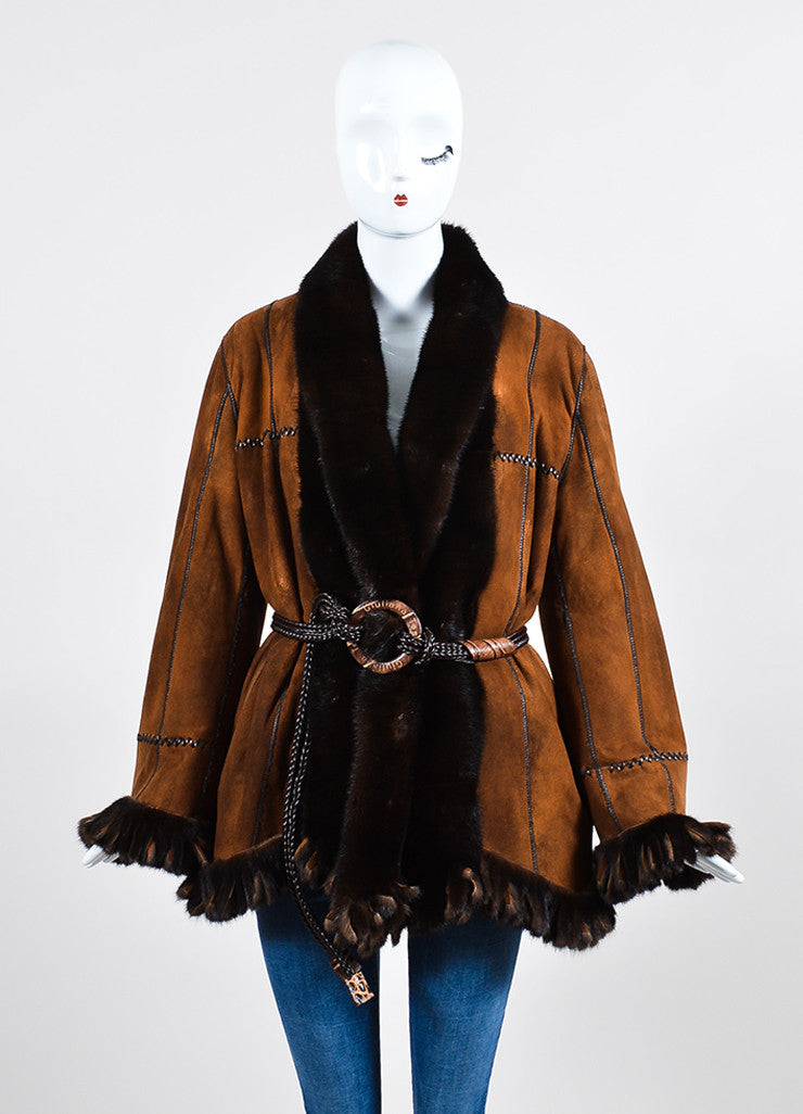 Giuliana Teso Brown Mink Fur Suede Fringe Belted Reversible Coat Frontview 2
