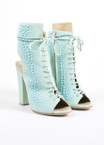 Mint Green Giuseppe Zanotti Lace Up Peep Toe Block Heel Boots Front