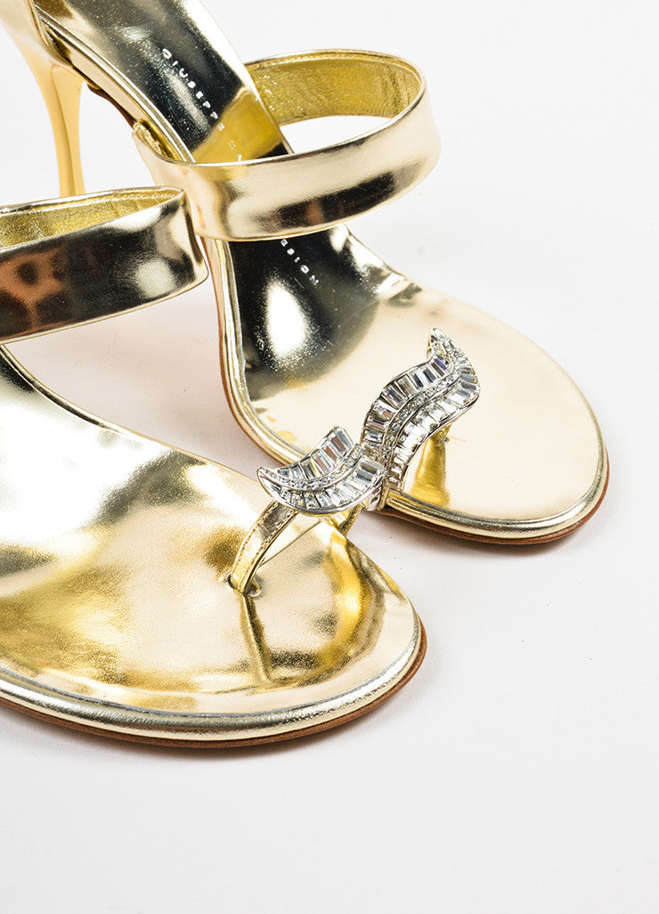 Giuseppe Zanotti Metallic Silver and Gold Leather Rhinestone Toe Sandals Detail