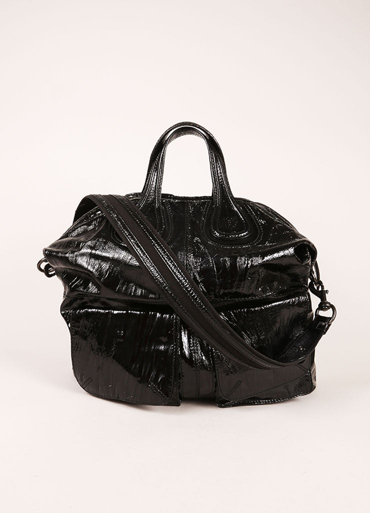 "Givenchy Black Crinkle Patent Leather Two Pocket ""Nightingale"" Tote Bag Frontview"