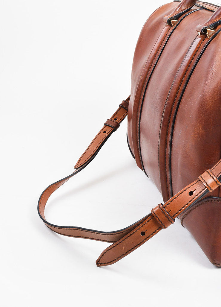 "Givenchy Brown Leather ""Large Lucrezia"" Zip Over Night Shoulder Bag Detail 2"