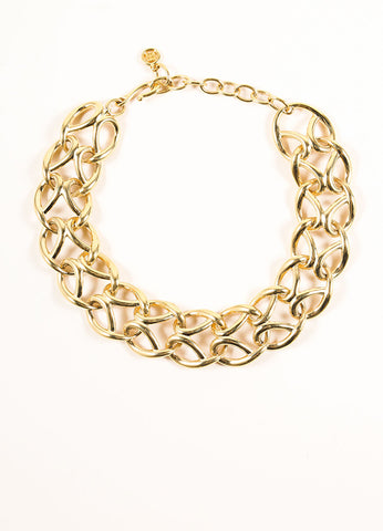 Givenchy Gold Toned Looped Chain Link Short Necklace Frontview