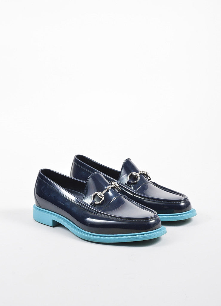 Navy and Teal Two Tone Gucci Horsebit Rubber Loafers Frontview