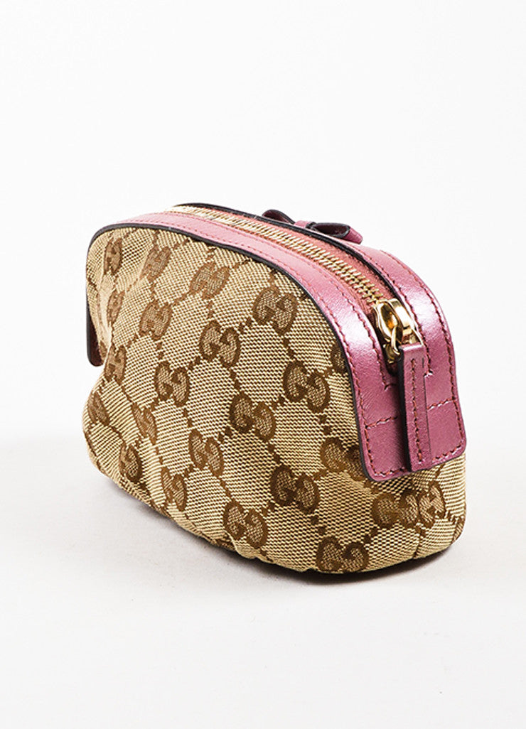Gucci Tan, Brown, and Pink Canvas 'GG' Metallic Bow Heart Charm Zip Pouch Sideview