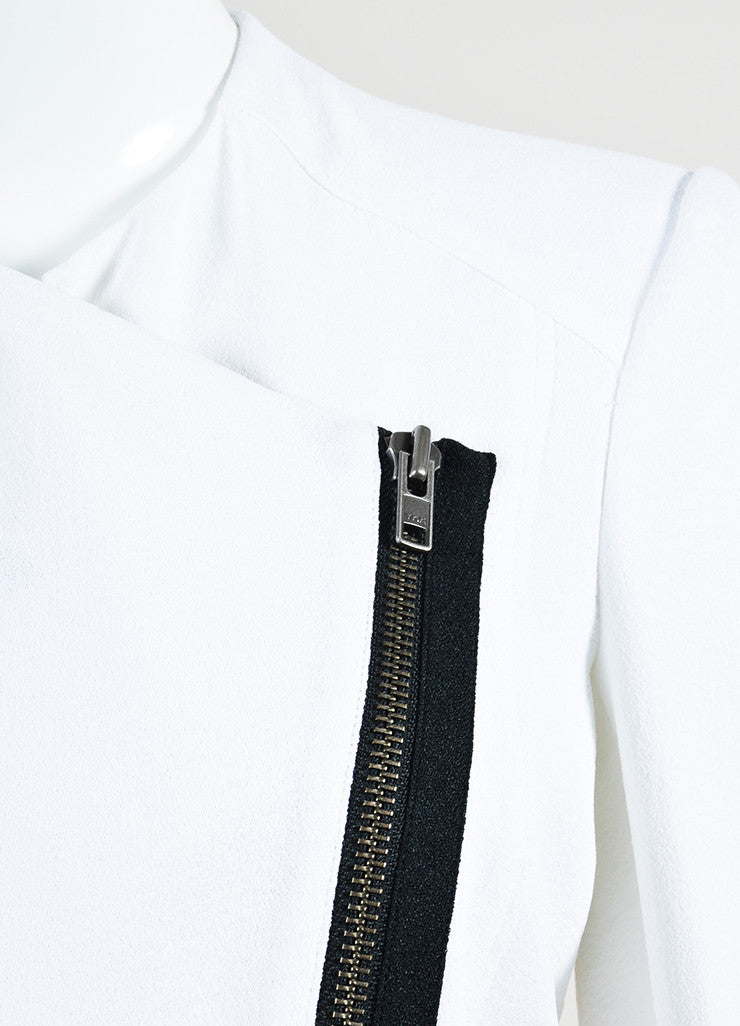 "Helmut Lang White and Black Crepe Asymmetrical ""Sugar"" Jacket Detail"