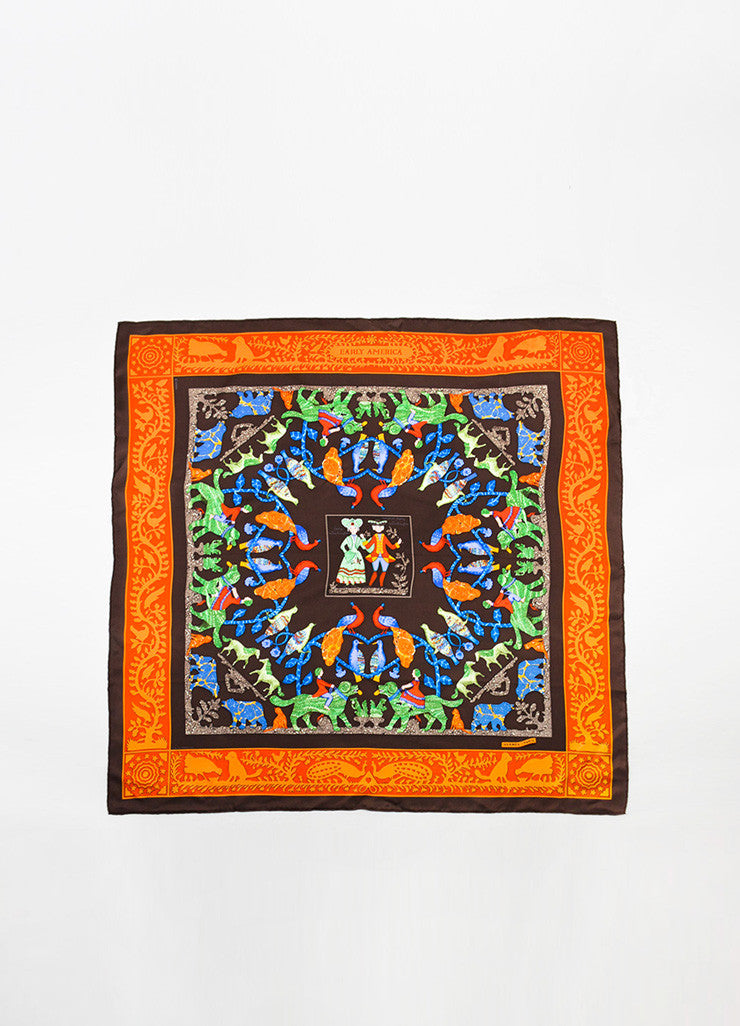 "Hermes Brown and Multicolor Silk Twill Graphic Printed ""Early America"" Scarf Frontview 2"