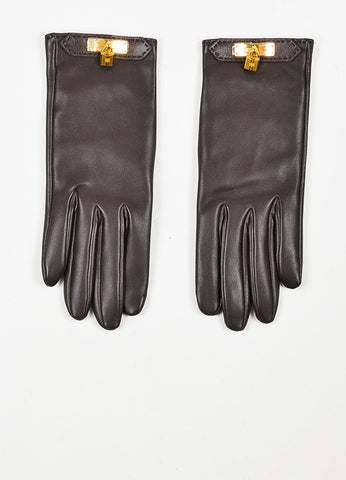 "Hermes Brown Lambskin Leather Kelly Lock ""Soya"" Gloves Frontview"