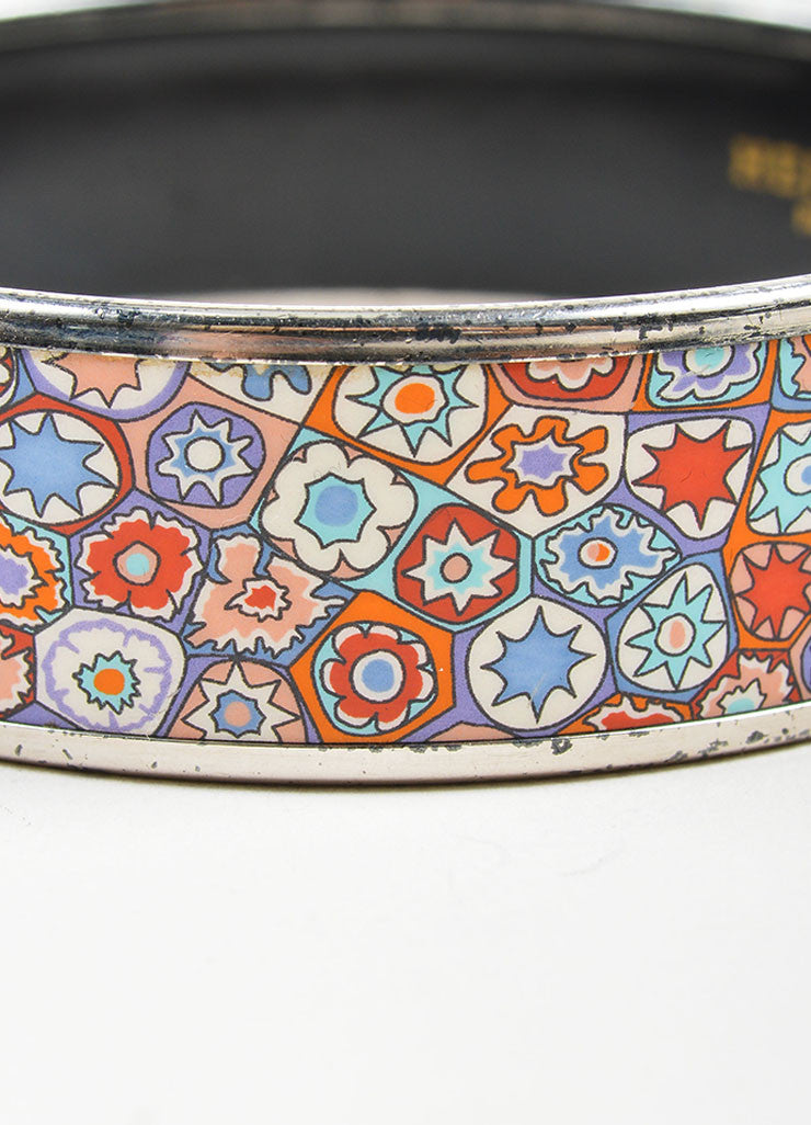 "Silver Toned and Multicolor Hermes Printed Enamel ""Millefiori"" Bangle Bracelet Detail"