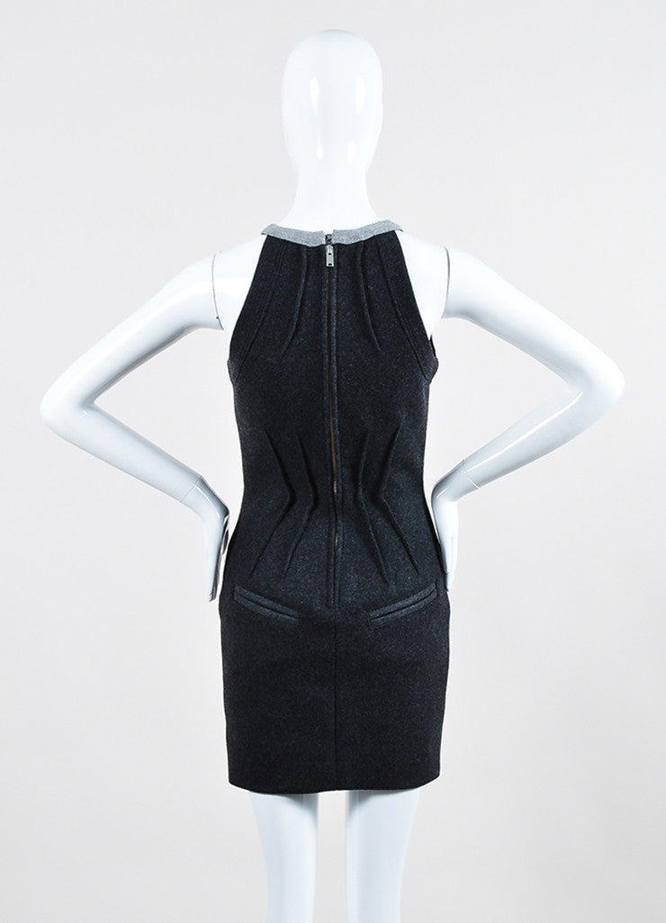 "Isabel Marant Dark Grey Brandebourg Flannel Sleeveless ""Kierra"" Dress Backview"