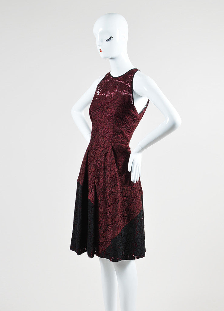 Maroon J. Mendel Lace Pleated Sleeveless Skater Dress Side