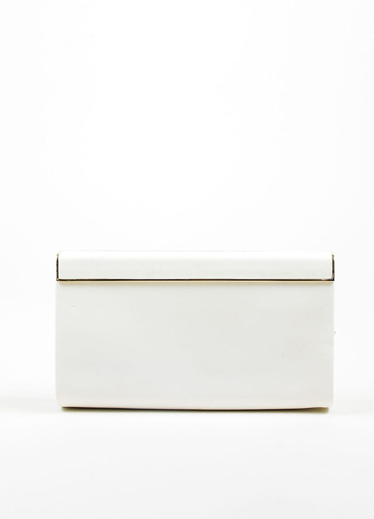 "Jimmy Choo White Patent Leather ""Cayla"" Clutch Bag Frontview"