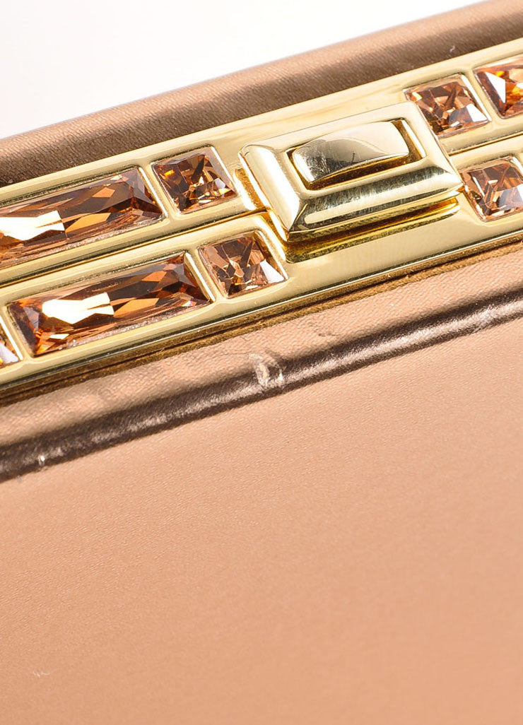 Judith Leiber Rose Gold Jewel Trim Rectangular Clutch Bag Detail
