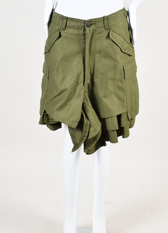 Junya Watanabe Comme des Garcons Olive Green Ruffle Leg Cargo Shorts Frontview