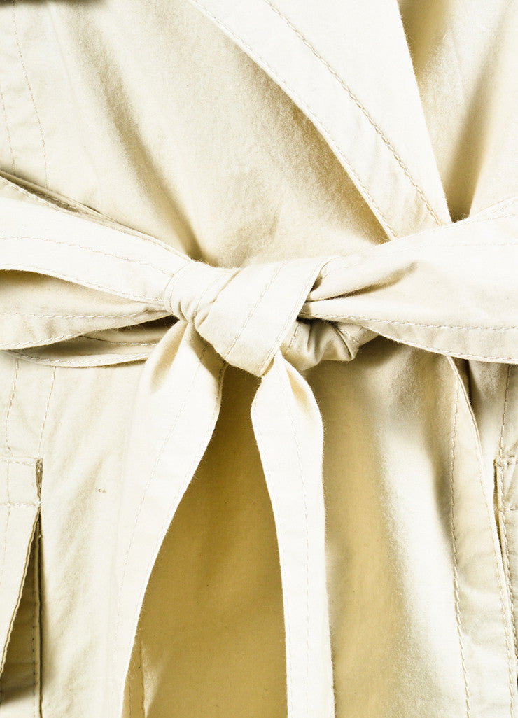 KaufmanFranco Khaki Beige Wrap Belted Short Trench Coat Detail