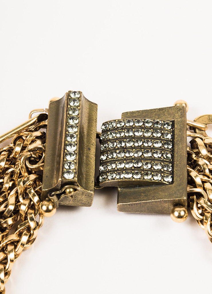 Lanvin Gold Toned Metal Multi Strand Chain Crystal Collar Necklace Detail 2