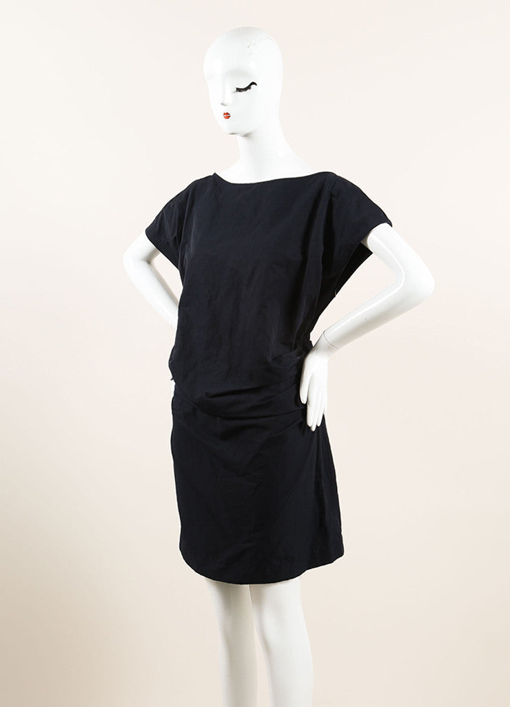 Lanvin Navy Blue Cotton Ruched Bow Back Short Sleeve Dress Sideview