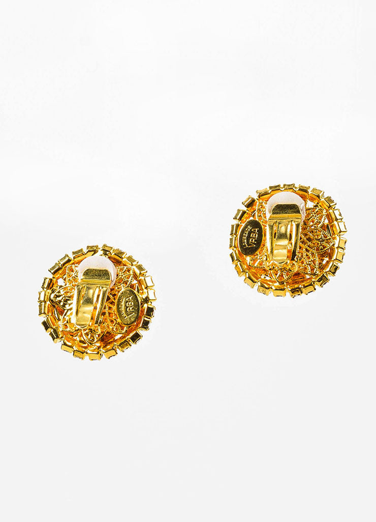 Lawrence Vrba Gold Toned, Clear, and Green Rhinestone Circular Clip-On Earrings Backview