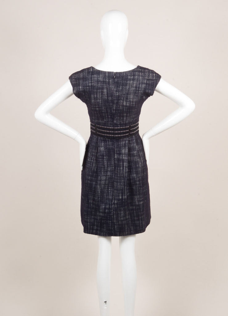 Lela Rose Black, White, and Navy Wool Blend Knit Woven Tweed Pleated Dress Backview
