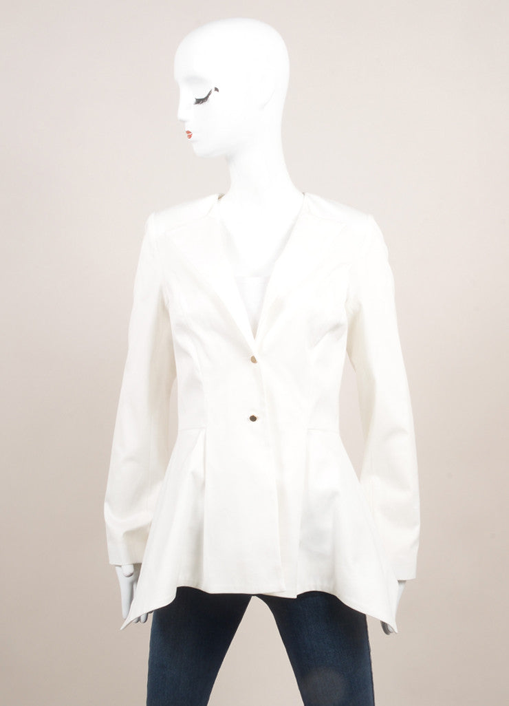 Lela Rose New With Tags White Cotton Peplum Collarless Blazer Frontview