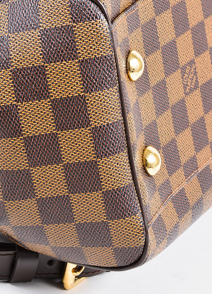 "Brown Louis Vuitton Coated Canvas and Leather ""Damier Trevi PM"" Satchel Bag Detail"