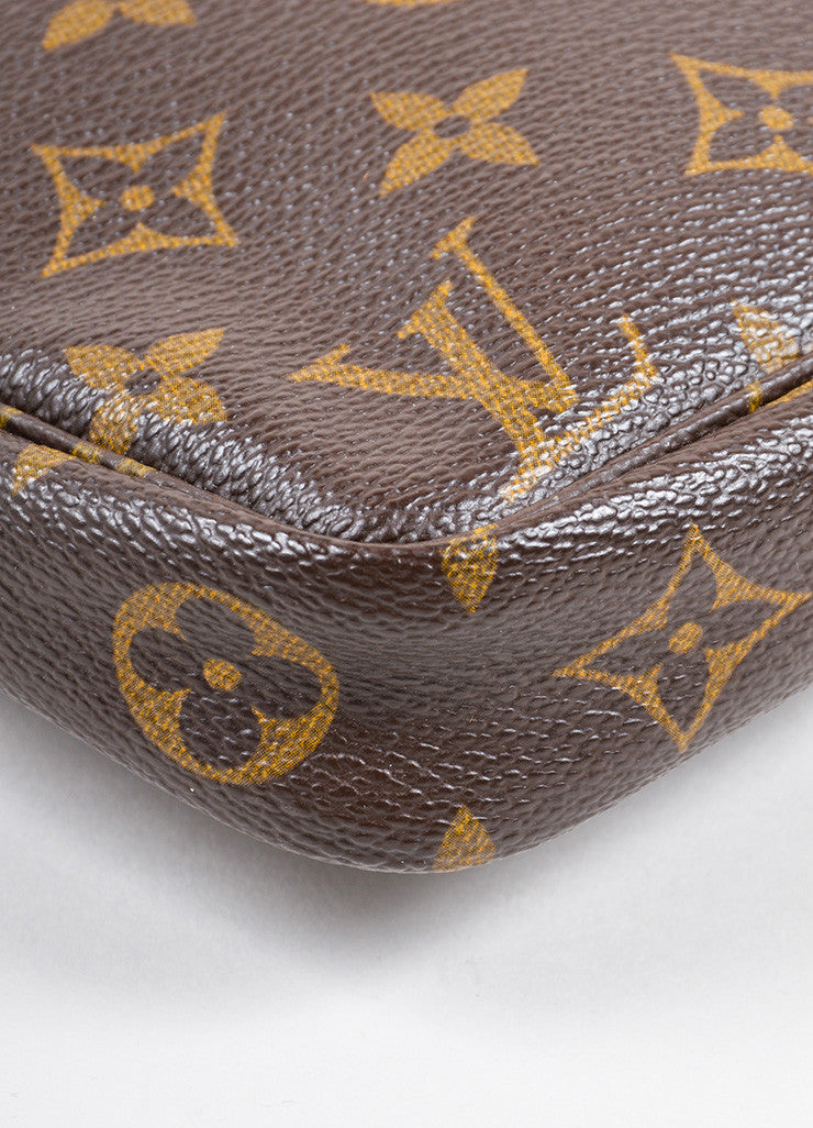"Louis Vuitton Brown Coated Canvas Leather Trim Monogram ""Pochette NM"" Bag Detail"