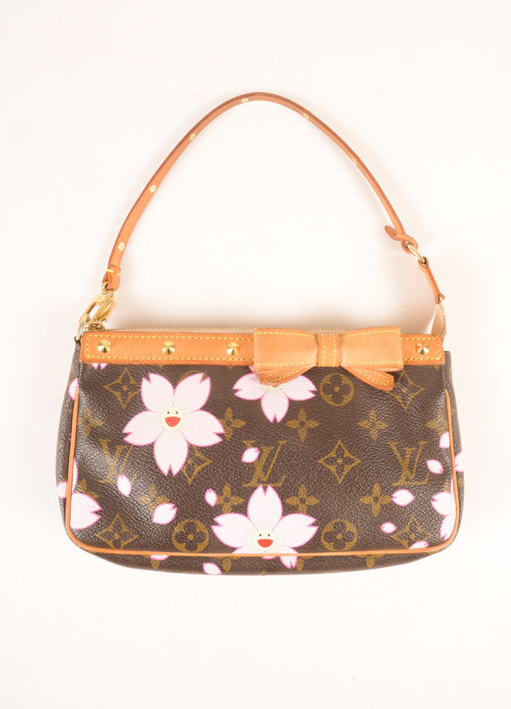 Louis Vuitton Brown and Pink Cherry Blossom Monogram Canvas Bow and Stud Pochette Bag Frontview