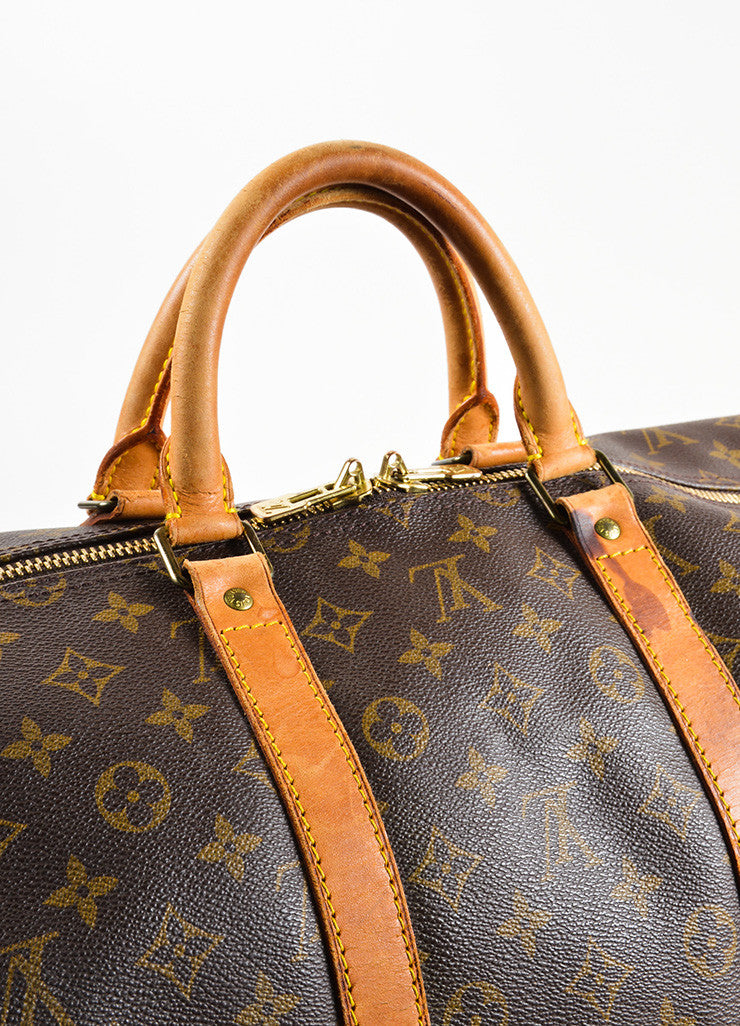 "Louis Vuitton Brown Canvas and Leather Monogram ""Keepall 55 Bandouliere"" Bag Detail 4"