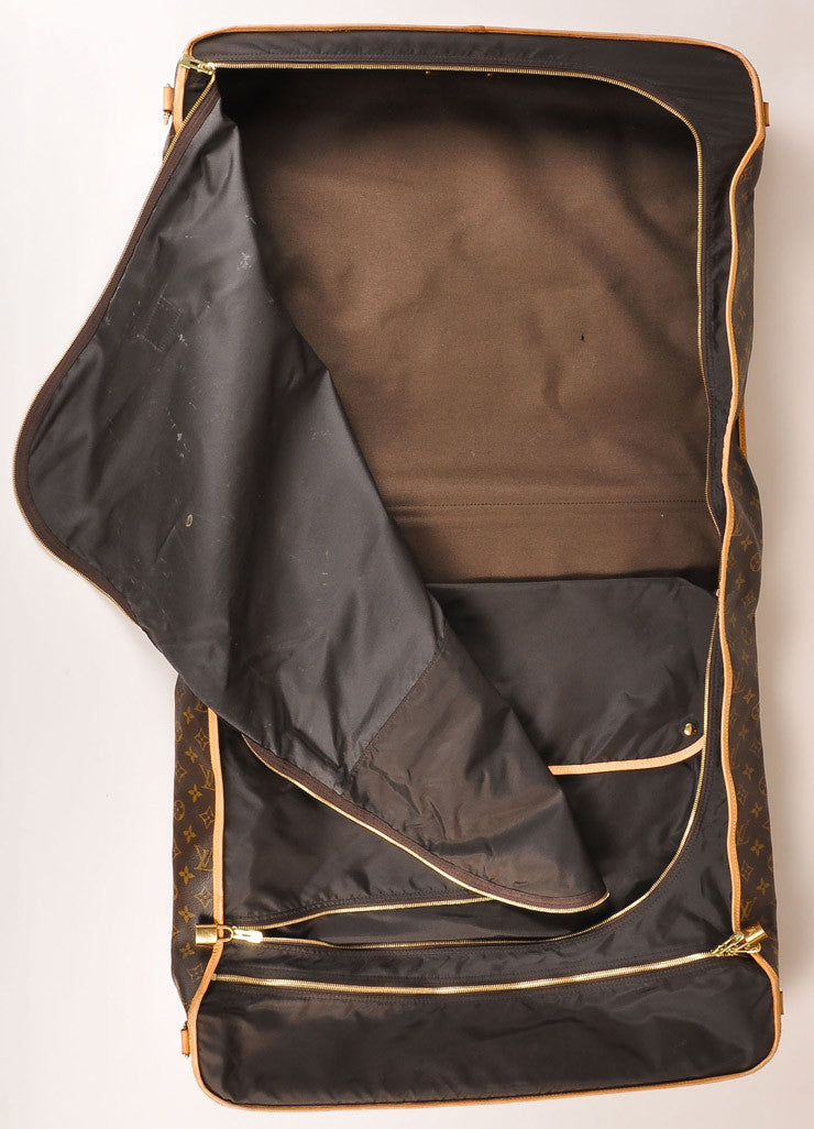 Louis Vuitton Brown and Tan Monogram Coated Canvas Garment Bag Interior 2