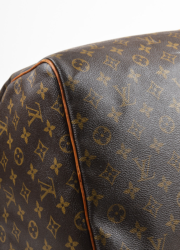 "Louis Vuitton Brown and Tan Monogram Leather ""Keepall 60"" Bag Detail"