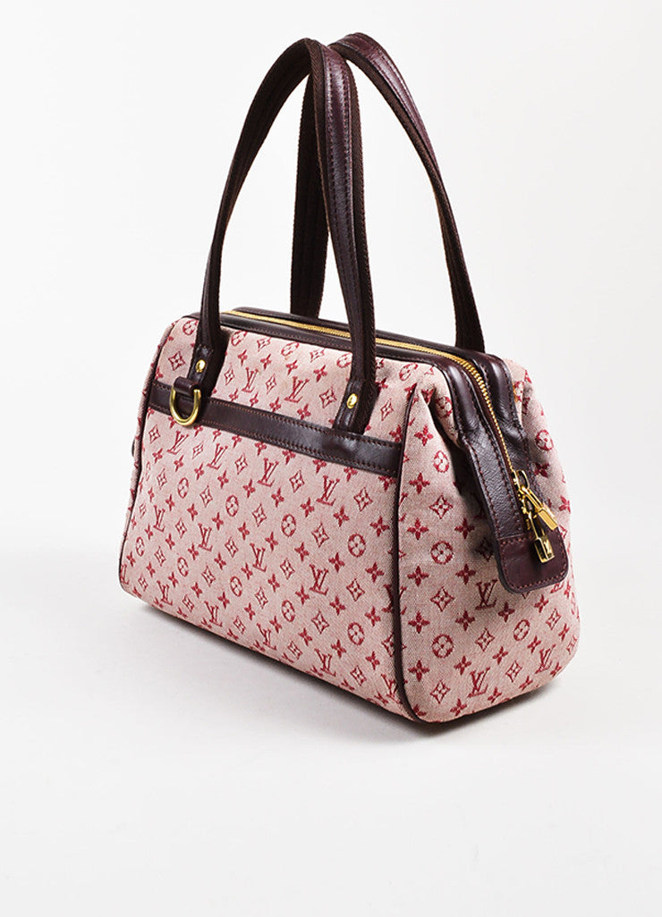 "Louis Vuitton Deep Pink and Brown Monogram Mini Lin ""Josephine PM"" Satchel Bag Sideview"