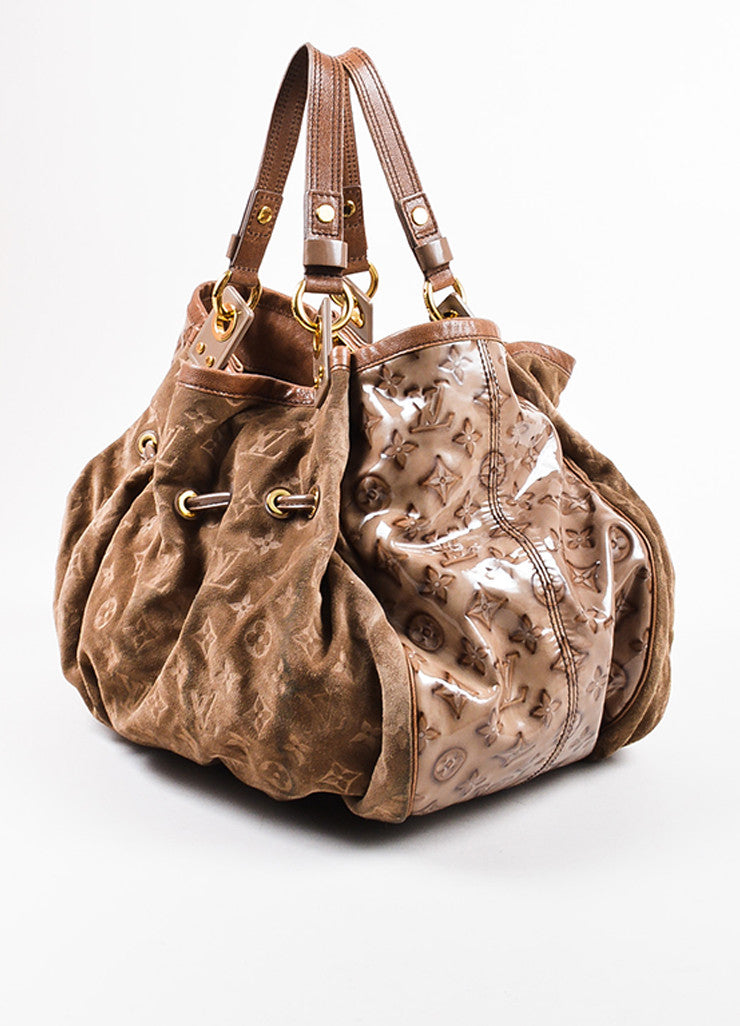 "Louis Vuitton Taupe Brown Suede Patent Vernis Leather ""Irene Coco"" Hobo Bag Sideview"