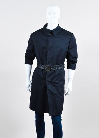 Men's Brioni Black and Navy Twill Wool Leather Reversible Belted Trench Coat Frontview