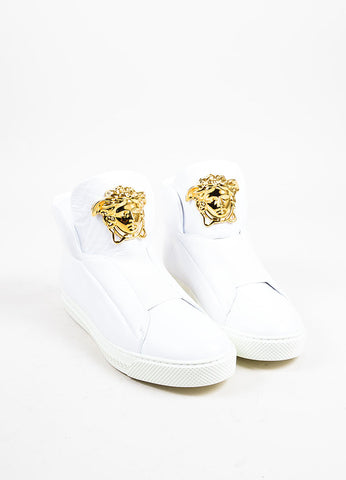 "MEN'S Versace White Leather Gold Tone Medusa ""Palazzo Idol"" Sneakers Front"