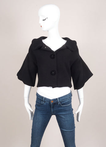 Marc Jacobs Black Cropped Wool and Cashmere Knit Buttoned Sweater Jacket Frontview