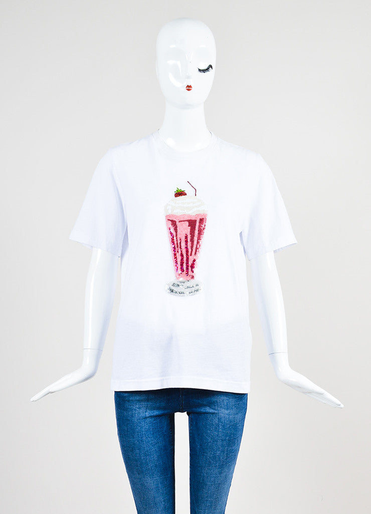 Markus Lupfer White and Pink Cotton Milkshake Sequin Embellished Tee Shirt Frontview