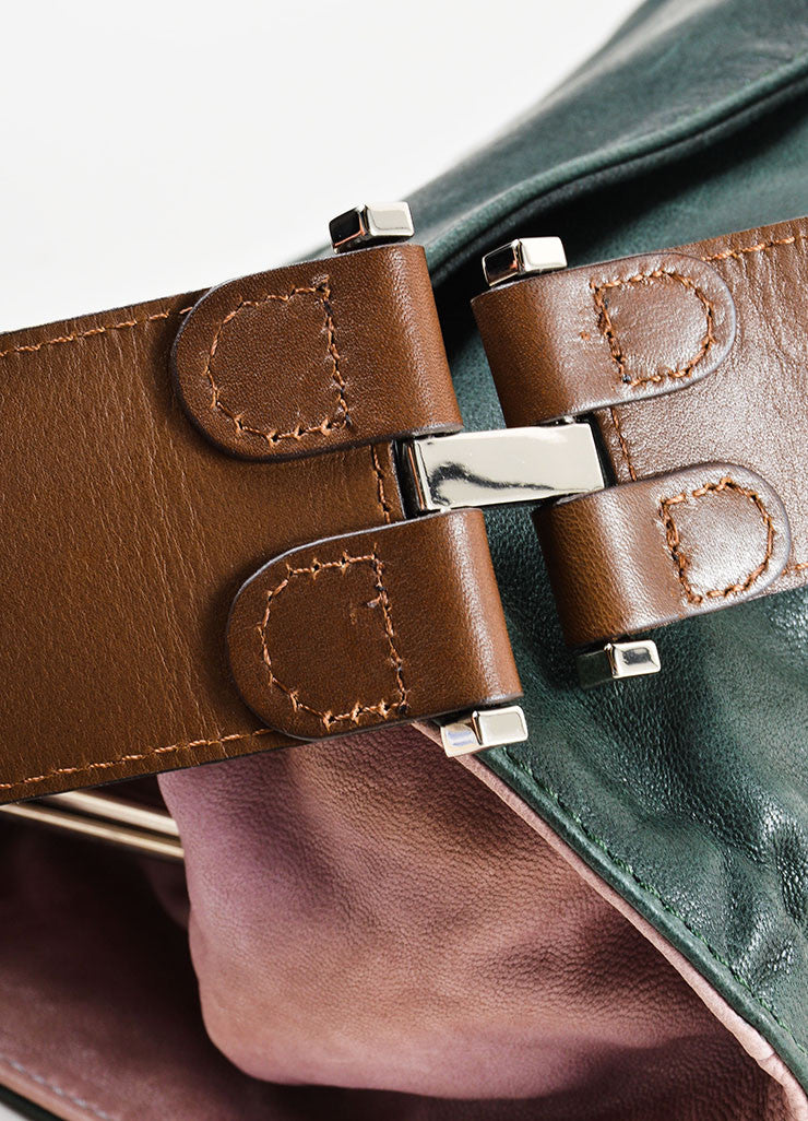 Dark Green, Mauve, and Brown Marni Leather Satchel Shoulder Bag Detail 3