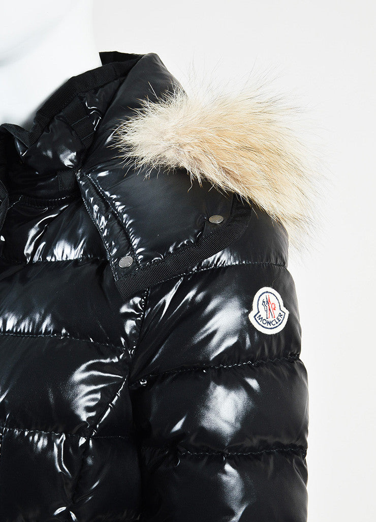 "Moncler Black Nylon Quilted Fur ""Armoise"" Down Puffer Coat Jacket Detail"