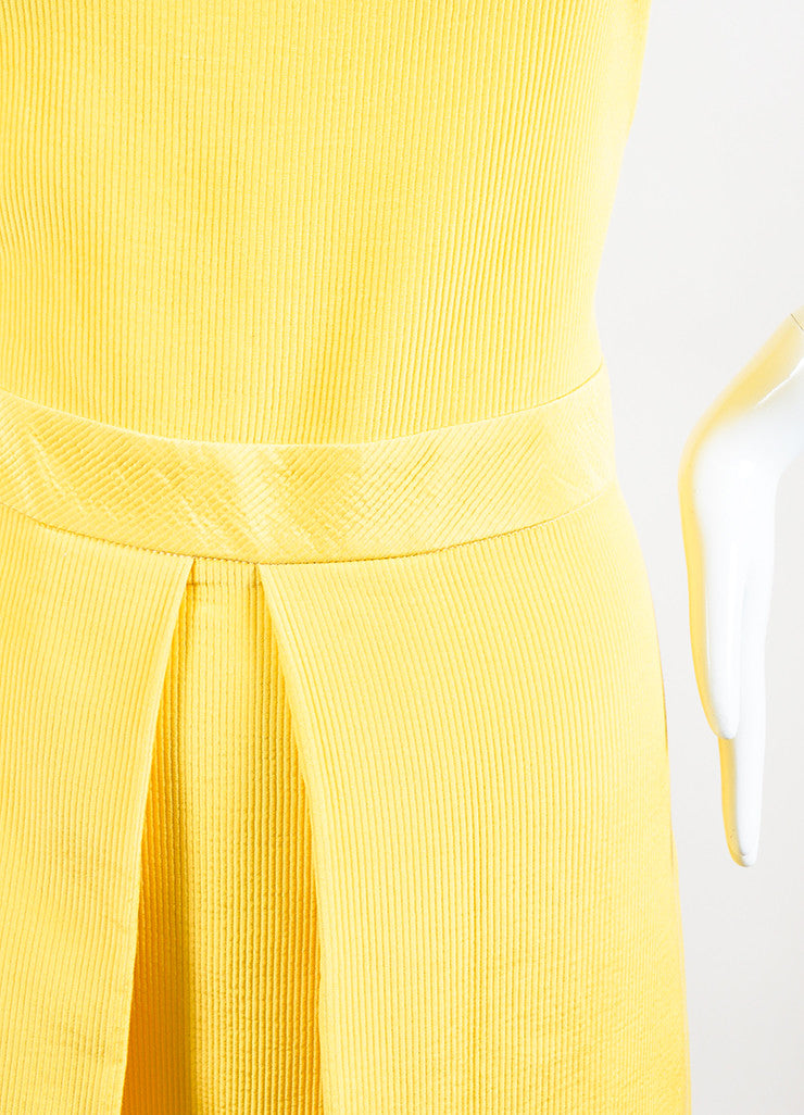 Yellow Moschino Cheap and Chic Cotton Blend Pleated Sleeveless Dress Detail