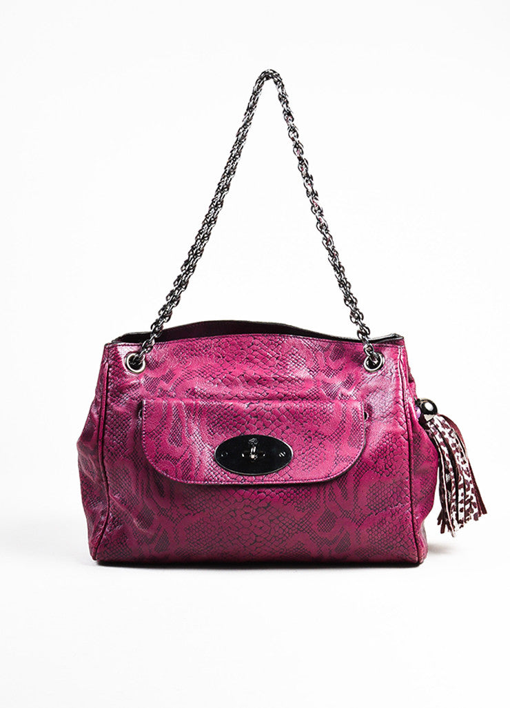 "Mulberry ""English Plum"" Leather Snake Embossed Chain Strap ""Cory"" Tote Bag Frontview"