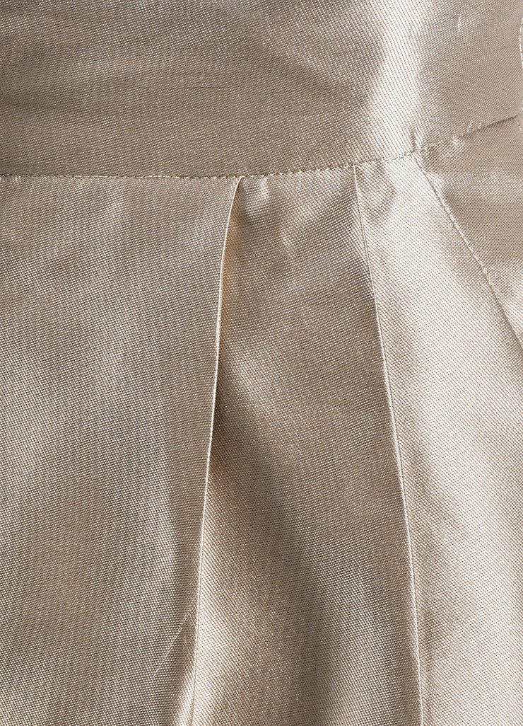 Oscar de la Renta Metallic Taupe Pleated High Waisted Wide Leg Trousers Detail