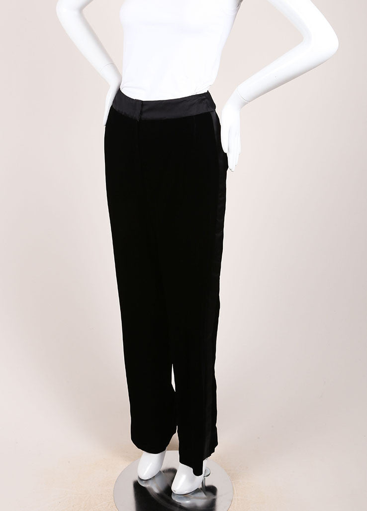 Oscar de la Renta New With Tags Black Velvet Tuxedo Pants Sideview