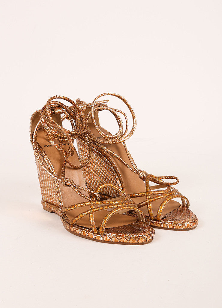 Pierre Hardy Copper and Silver Metallic Python Wedge Sandals Frontview