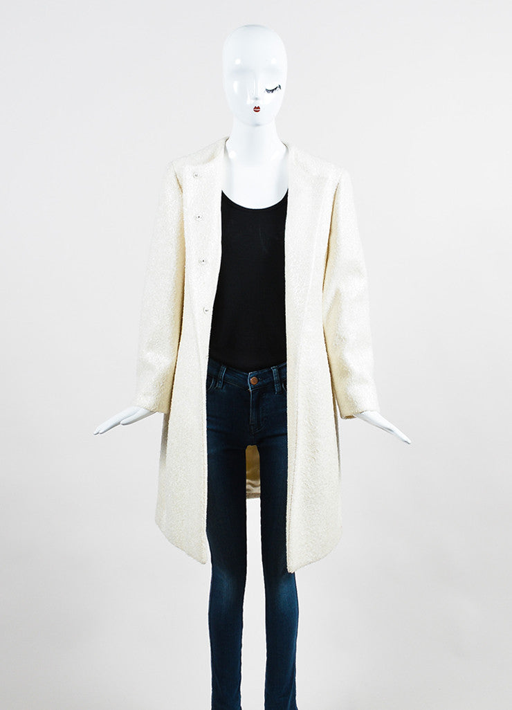 Cream Prada Metallic Woolen Long Sleeve Coat  Frontview