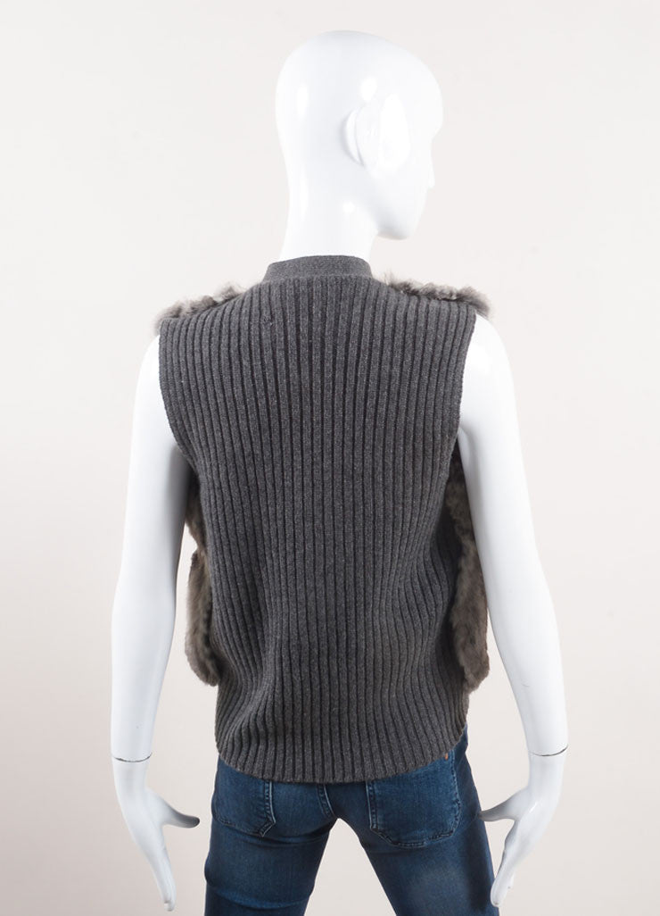 Prada New With Tags Grey Cream Chinchilla, Wool, and Cashmere Blend Sweater Vest Backview