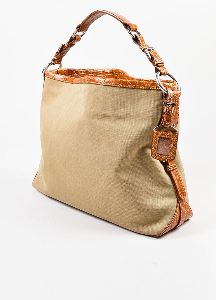 Prada Tan and Brown Canvas Crocodile Trim Logo Hobo Shoulder Bag Sideview
