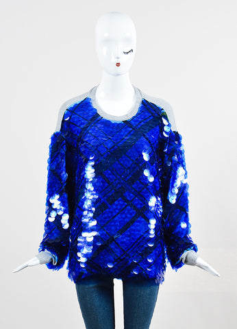 "Blue Preen by Thornton Silk and Cashmere Sequin ""Hoxton"" Sweatshirt Frontview"
