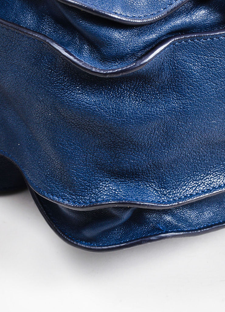 "Navy Blue Proenza Schouler Leather ""PS1"" Large Tote Bag Detail"
